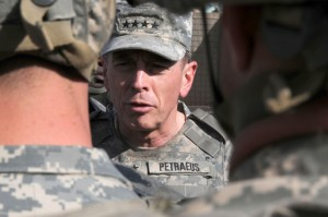 U.S. Army Gen. David H. Petraeus, commander of U.S. Central Command, talks with members of Combined Joint Task Force - 101 on Combat Outpost Marghah, Afghanistan, Nov. 6, 2008. (U.S. Air Force photo by Staff Sgt. Bradley A. Lail/Released)
